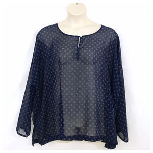 Old Navy Blue & Gray Sheer Blouse 2X